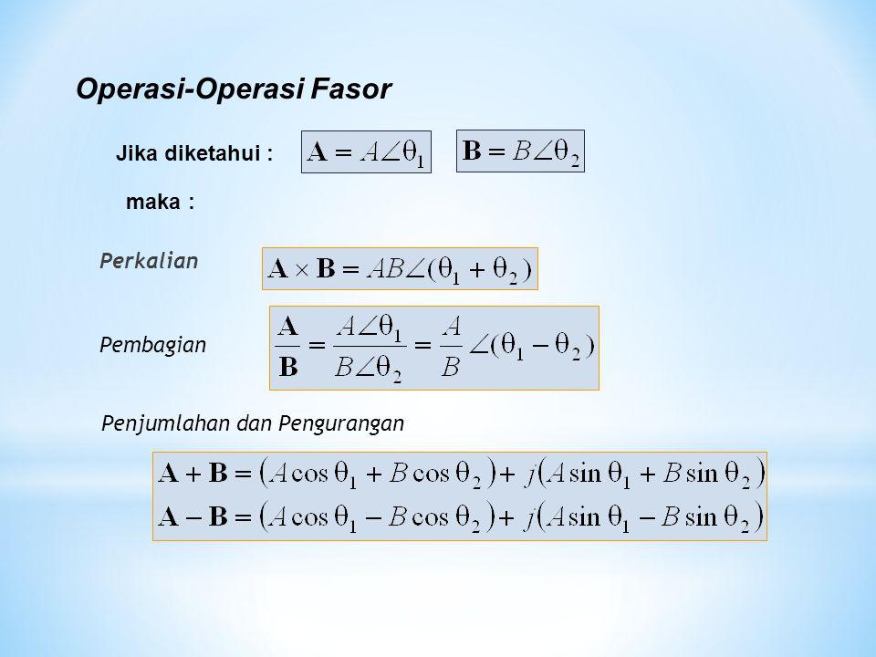 Perkalian Pembagian Operasi-Operasi Fasor Penjumlahan dan Pengurangan Jika diketahui : maka :