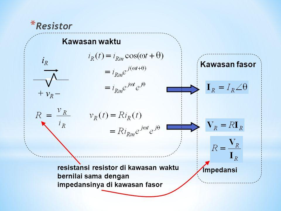 * Resistor + v R  iRiR Kawasan fasor Kawasan waktu Impedansi resistansi resistor di kawasan waktu bernilai sama dengan impedansinya di kawasan fasor