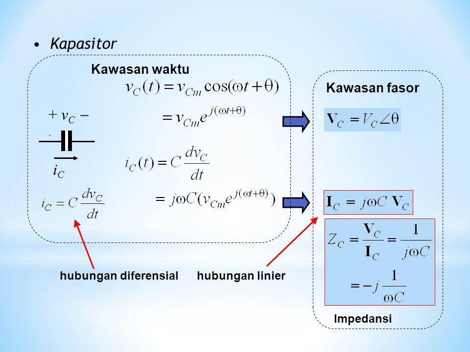 Kapasitor iCiC + v C  ` Kawasan fasor Impedansi Kawasan waktu hubungan diferensialhubungan linier