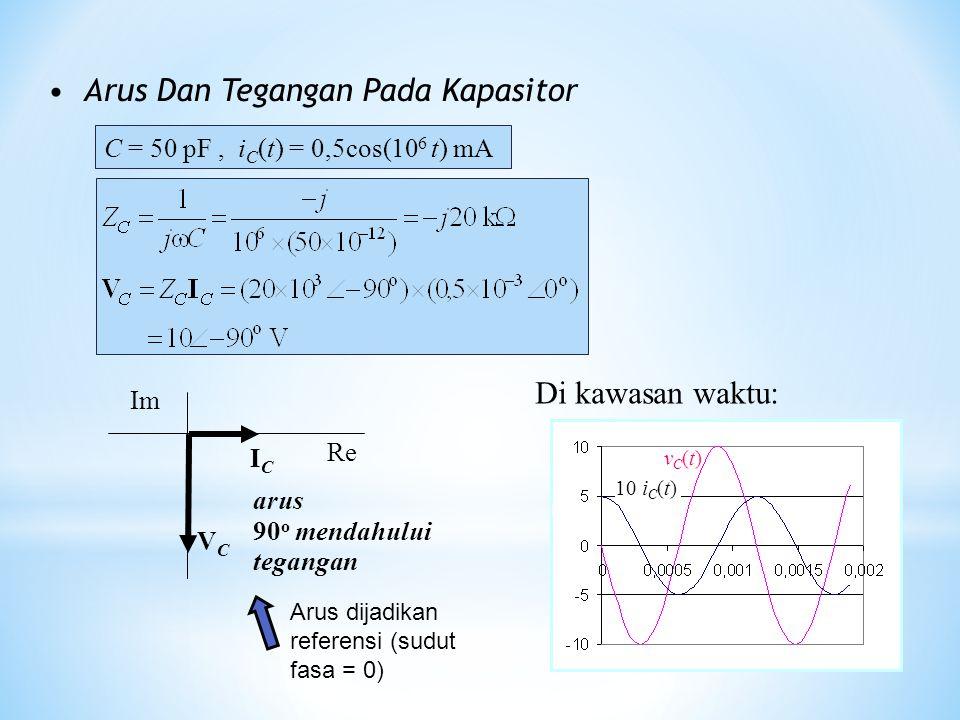 Arus Dan Tegangan Pada Kapasitor C = 50 pF, i C (t) = 0,5cos(10 6 t) mA ICIC VCVC Re Im arus 90 o mendahului tegangan Arus dijadikan referensi (sudut
