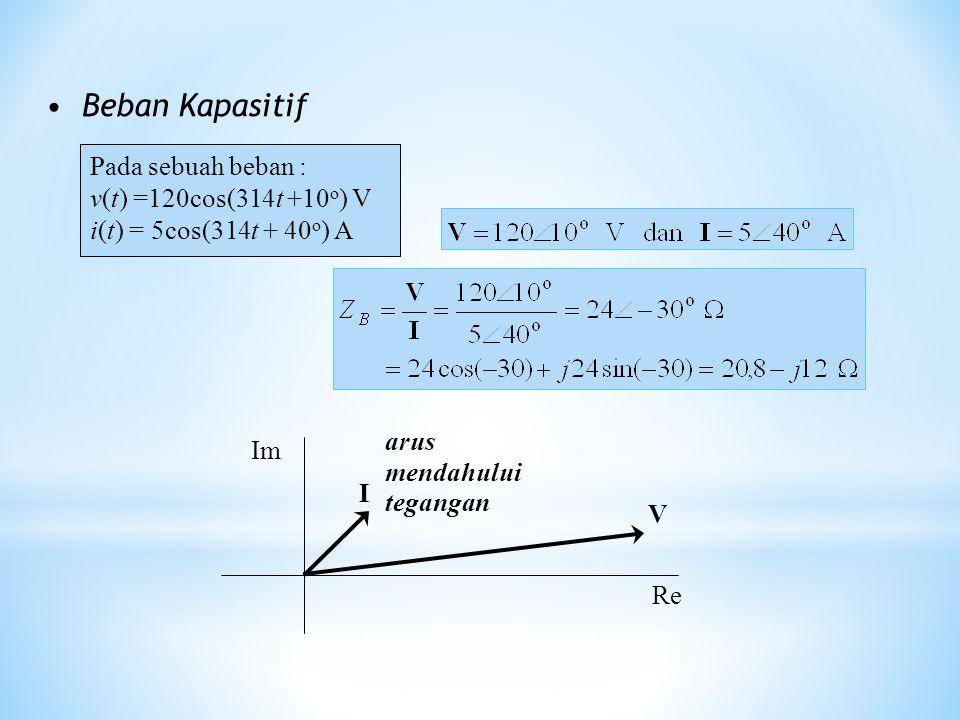 Beban Kapasitif Pada sebuah beban : v(t) =120cos(314t +10 o ) V i(t) = 5cos(314t + 40 o ) A I V Re Im arus mendahului tegangan