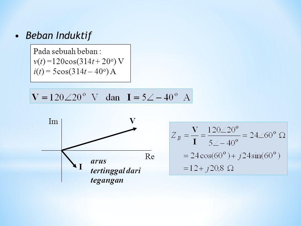 Beban Induktif Pada sebuah beban : v(t) =120cos(314t + 20 o ) V i(t) = 5cos(314t  40 o ) A I V Re Im arus tertinggal dari tegangan