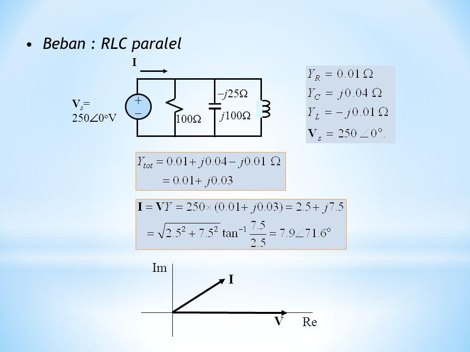 Beban : RLC paralel 100   j25  j100  V s = 250  0 o V ++ I I V Re Im
