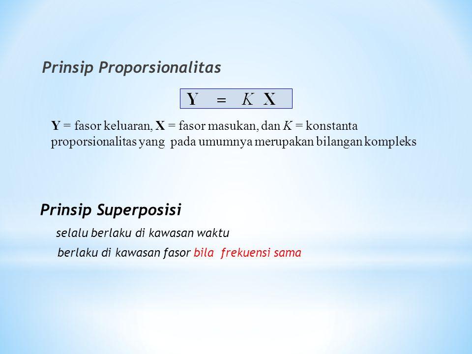 Prinsip Proporsionalitas Y = fasor keluaran, X = fasor masukan, dan K = konstanta proporsionalitas yang pada umumnya merupakan bilangan kompleks Prins