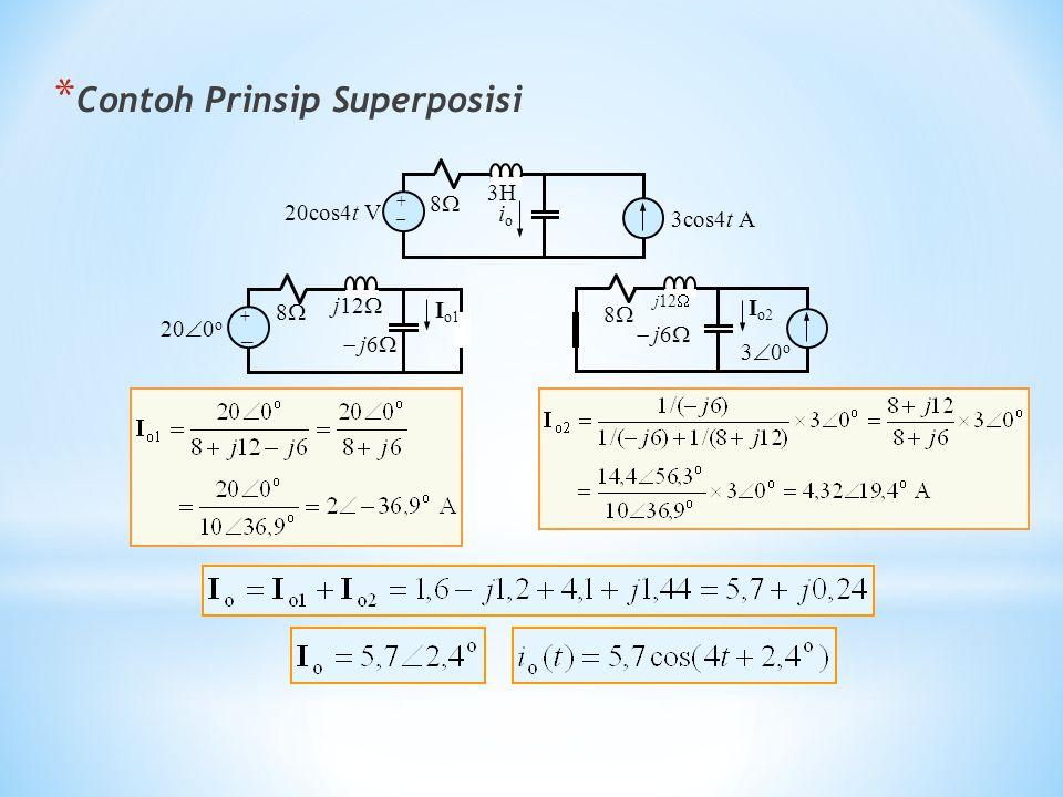 * Contoh Prinsip Superposisi 20cos4t V + _ 88 3cos4t A ioio 3H 20  0 o + _ 88  j6  I o1 j12  88 30o30o  j6  I o2 j12 