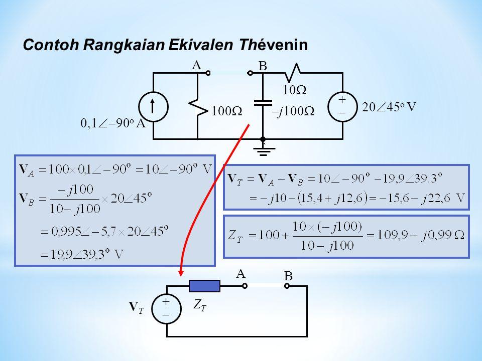 ++  j100  10  100  0,1  90 o A 20  45 o V ` A B Contoh Rangkaian Ekivalen Thévenin ++ VTVT ZTZT A B
