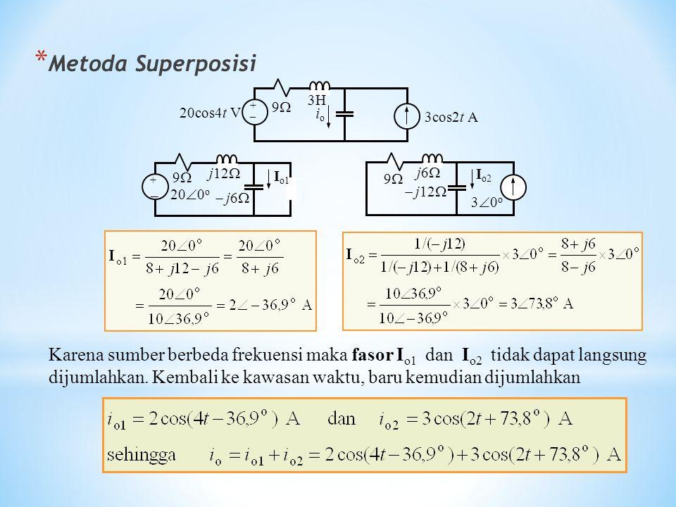 * Metoda Superposisi Karena sumber berbeda frekuensi maka fasor I o1 dan I o2 tidak dapat langsung dijumlahkan. Kembali ke kawasan waktu, baru kemudia