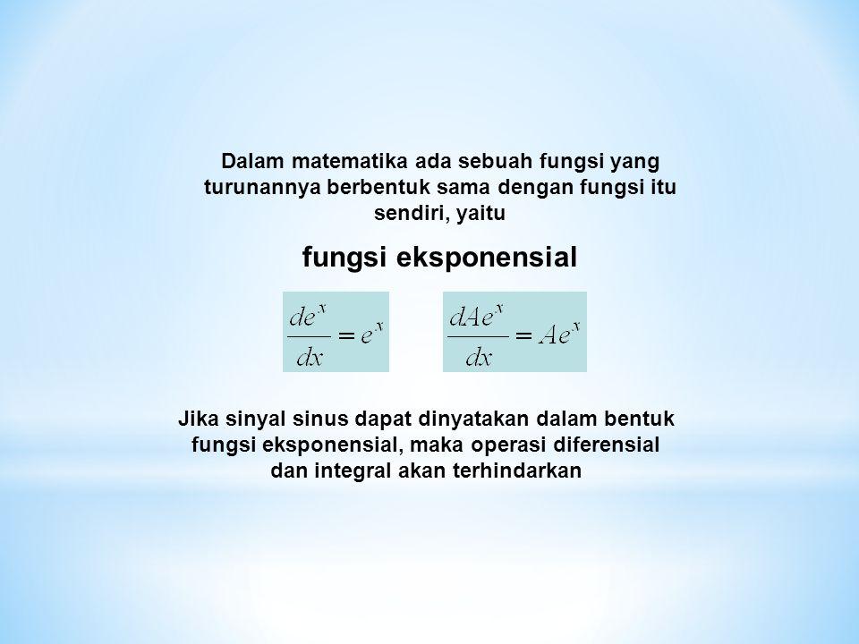 Dalam matematika ada sebuah fungsi yang turunannya berbentuk sama dengan fungsi itu sendiri, yaitu fungsi eksponensial Jika sinyal sinus dapat dinyata