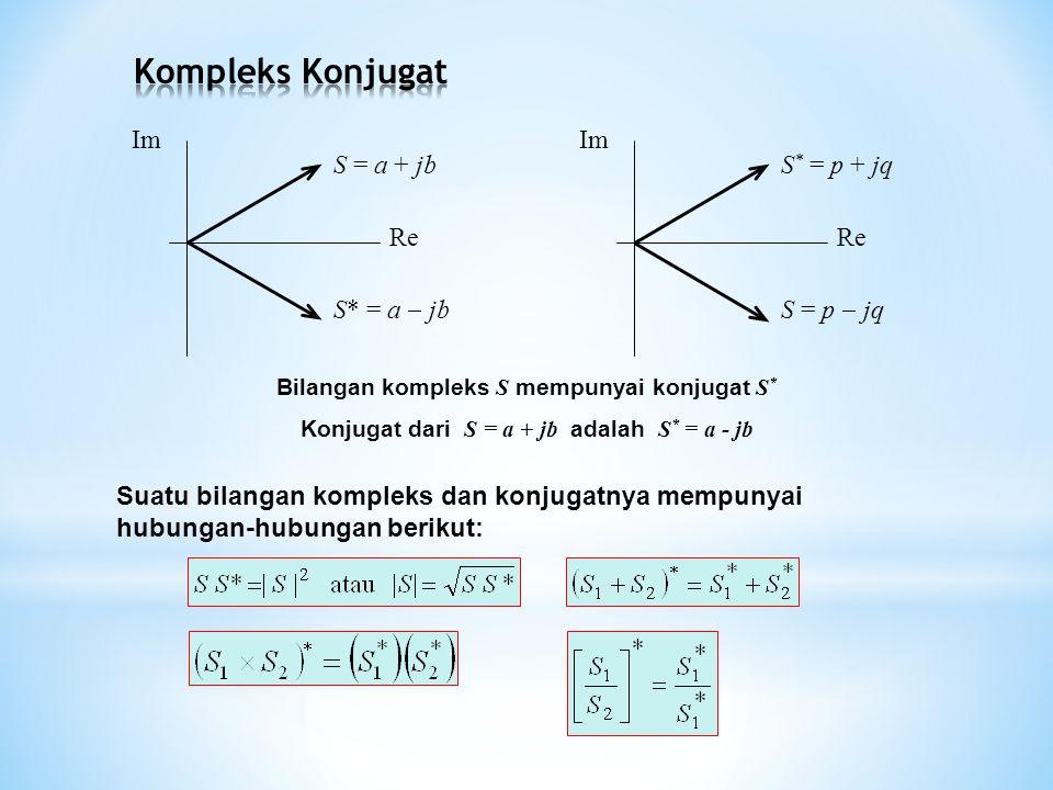 Suatu bilangan kompleks dan konjugatnya mempunyai hubungan-hubungan berikut: S = a + jb S* = a  jb Re Im Re Im Bilangan kompleks S mempunyai konjugat S * Konjugat dari S = a + jb adalah S * = a - jb S * = p + jq S = p  jq