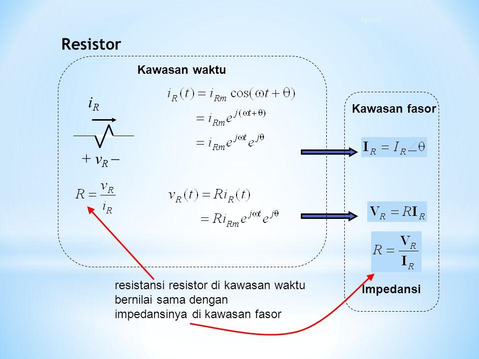 + v R  iRiR Kawasan fasor Kawasan waktu Impedansi resistansi resistor di kawasan waktu bernilai sama dengan impedansinya di kawasan fasor Resistor