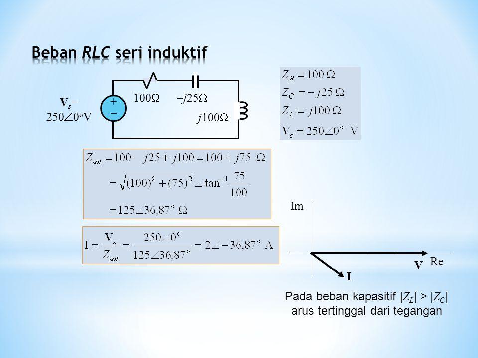 100  j25  j100  V s = 250  0 o V ++ I V Re Im Pada beban kapasitif | Z L | > | Z C | arus tertinggal dari tegangan