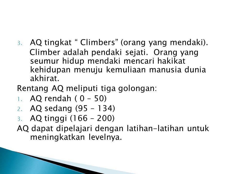 """2. AQ tingkat """" Cambers"""" (Orang yang berkemah"""". Camber adalah AQ tingkat bawah. Awalnya giat mendaki/berusaha menghadapi kesulitan hidup, ditengah per"""