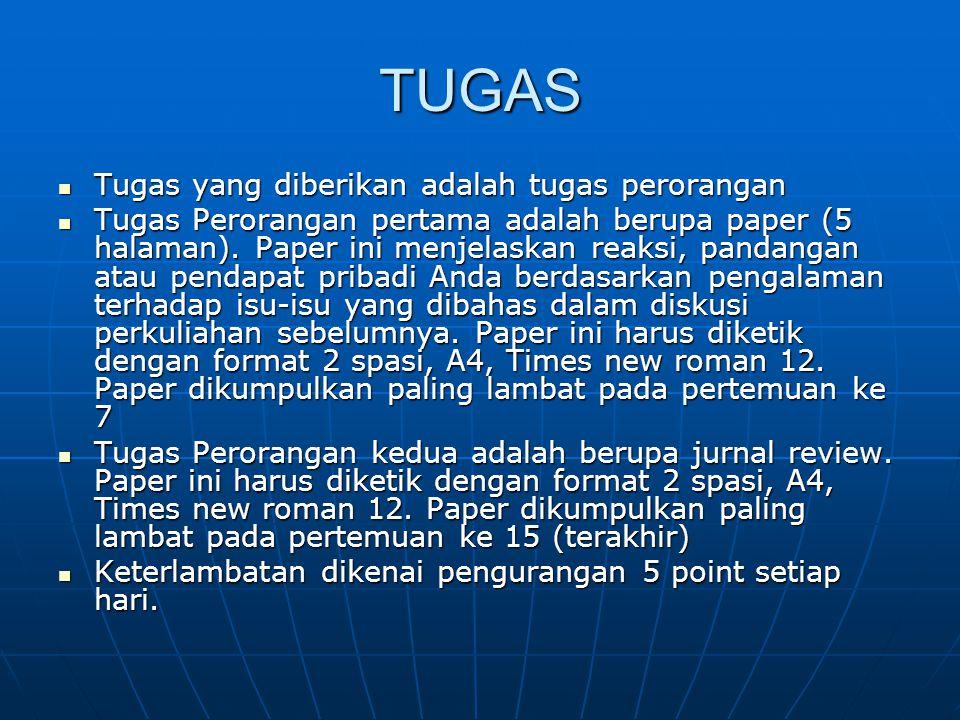 TUGAS Tugas yang diberikan adalah tugas perorangan Tugas yang diberikan adalah tugas perorangan Tugas Perorangan pertama adalah berupa paper (5 halama