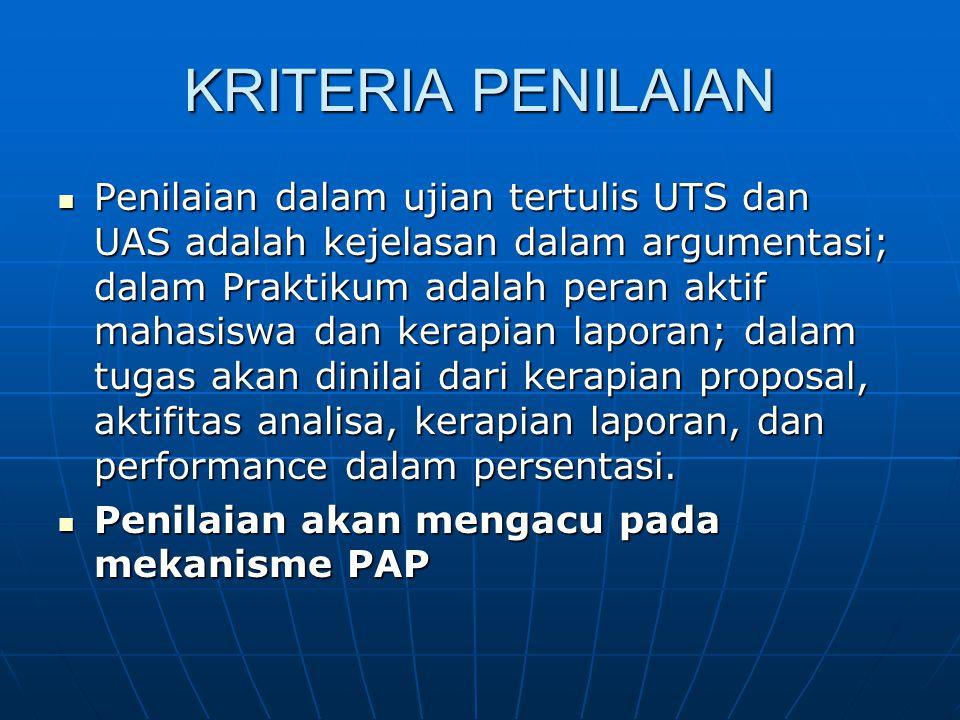 KRITERIA PENILAIAN Penilaian dalam ujian tertulis UTS dan UAS adalah kejelasan dalam argumentasi; dalam Praktikum adalah peran aktif mahasiswa dan ker