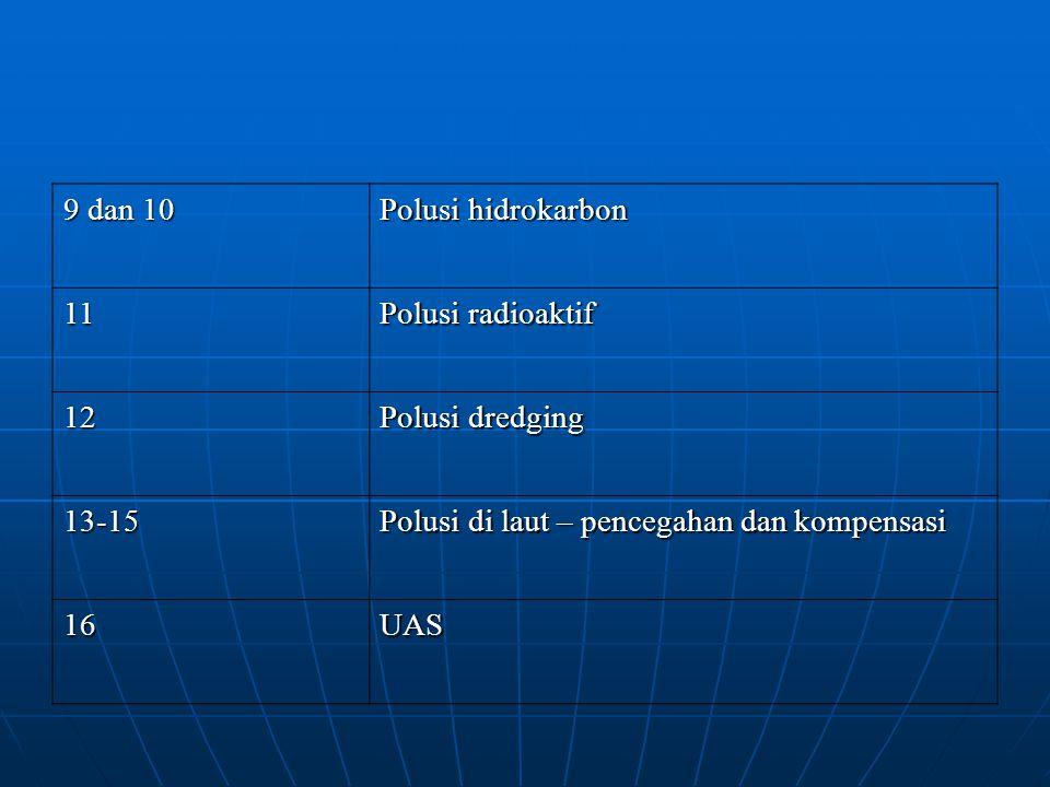 9 dan 10 Polusi hidrokarbon 11 Polusi radioaktif 12 Polusi dredging 13-15 Polusi di laut – pencegahan dan kompensasi 16UAS