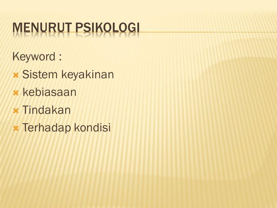 Keyword :  Sistem keyakinan  kebiasaan  Tindakan  Terhadap kondisi