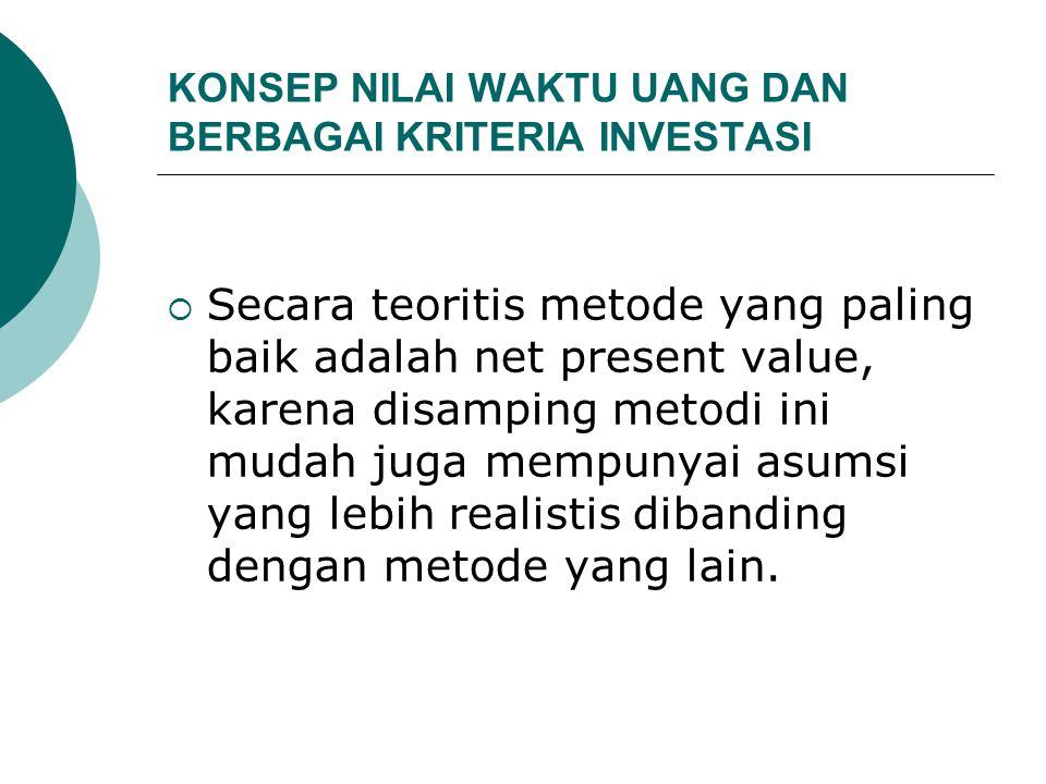 KONSEP NILAI WAKTU UANG DAN BERBAGAI KRITERIA INVESTASI  Secara teoritis metode yang paling baik adalah net present value, karena disamping metodi in