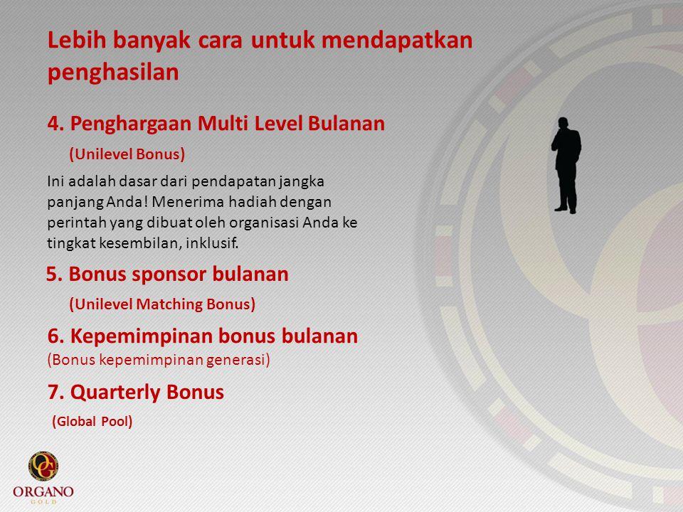 Lebih banyak cara untuk mendapatkan penghasilan 4. Penghargaan Multi Level Bulanan (Unilevel Bonus) Ini adalah dasar dari pendapatan jangka panjang An