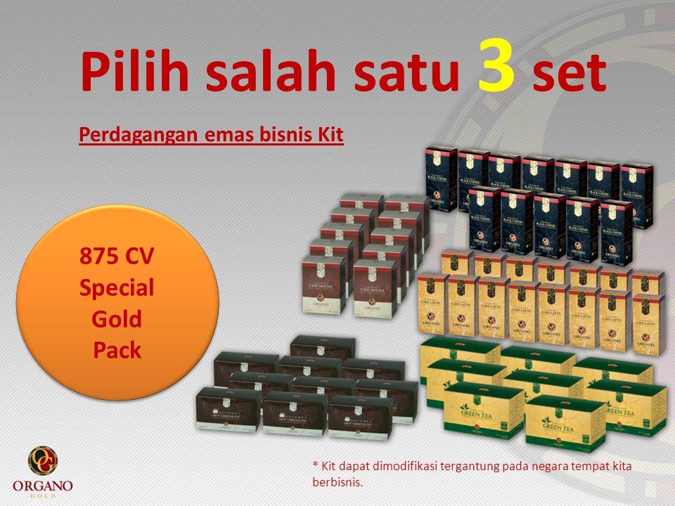 Pilih salah satu 3 set * Kit dapat dimodifikasi tergantung pada negara tempat kita berbisnis. Perdagangan emas bisnis Kit 875 CV Special Gold Pack 875