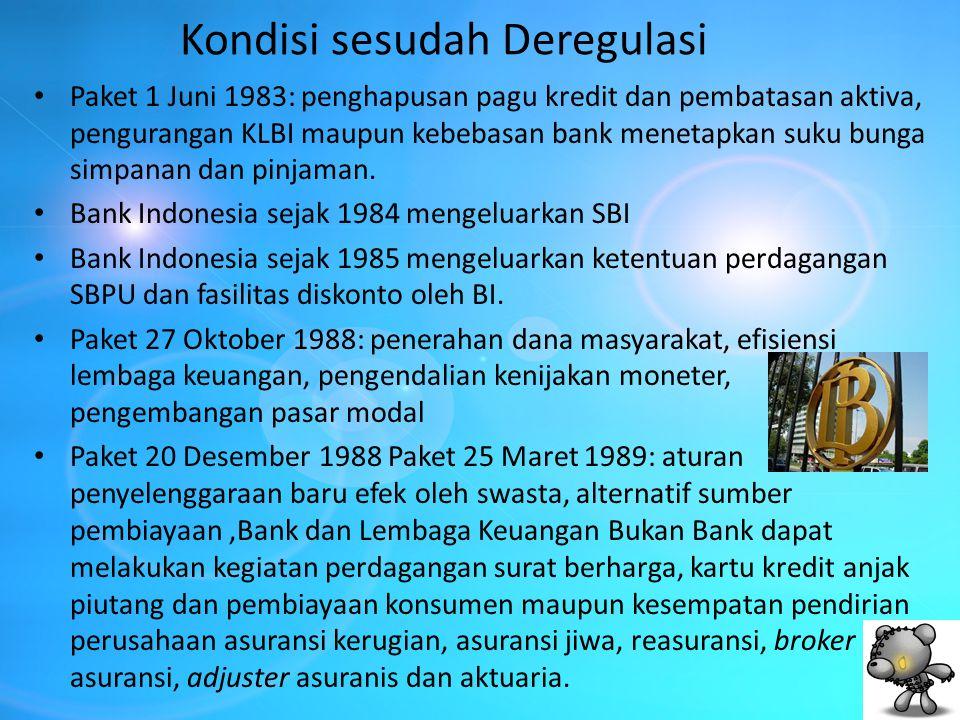 Kondisi sesudah Deregulasi Paket 1 Juni 1983: penghapusan pagu kredit dan pembatasan aktiva, pengurangan KLBI maupun kebebasan bank menetapkan suku bu