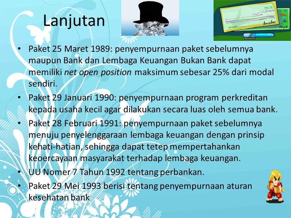 Lanjutan Paket 25 Maret 1989: penyempurnaan paket sebelumnya maupun Bank dan Lembaga Keuangan Bukan Bank dapat memiliki net open position maksimum seb