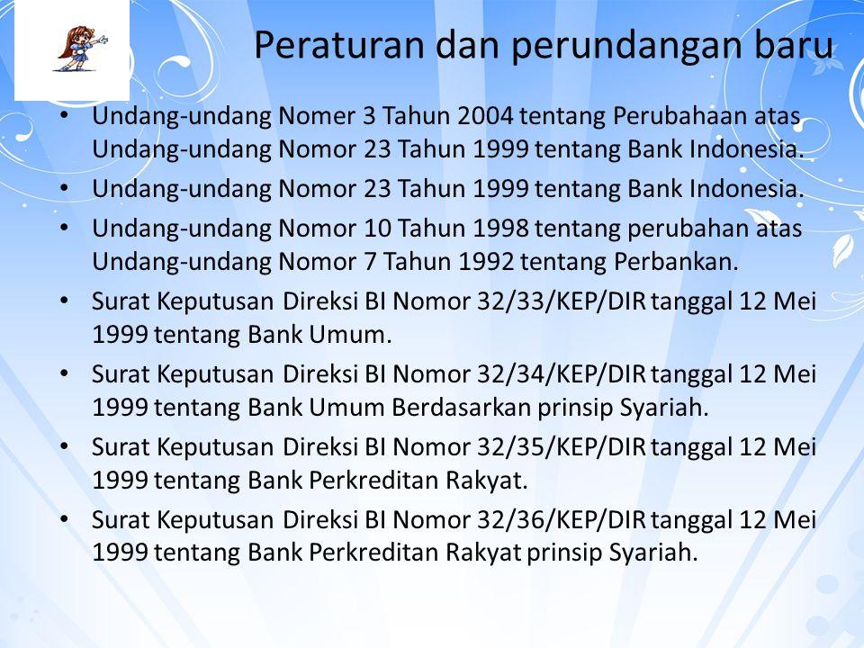 Peraturan dan perundangan baru Undang-undang Nomer 3 Tahun 2004 tentang Perubahaan atas Undang-undang Nomor 23 Tahun 1999 tentang Bank Indonesia. Unda