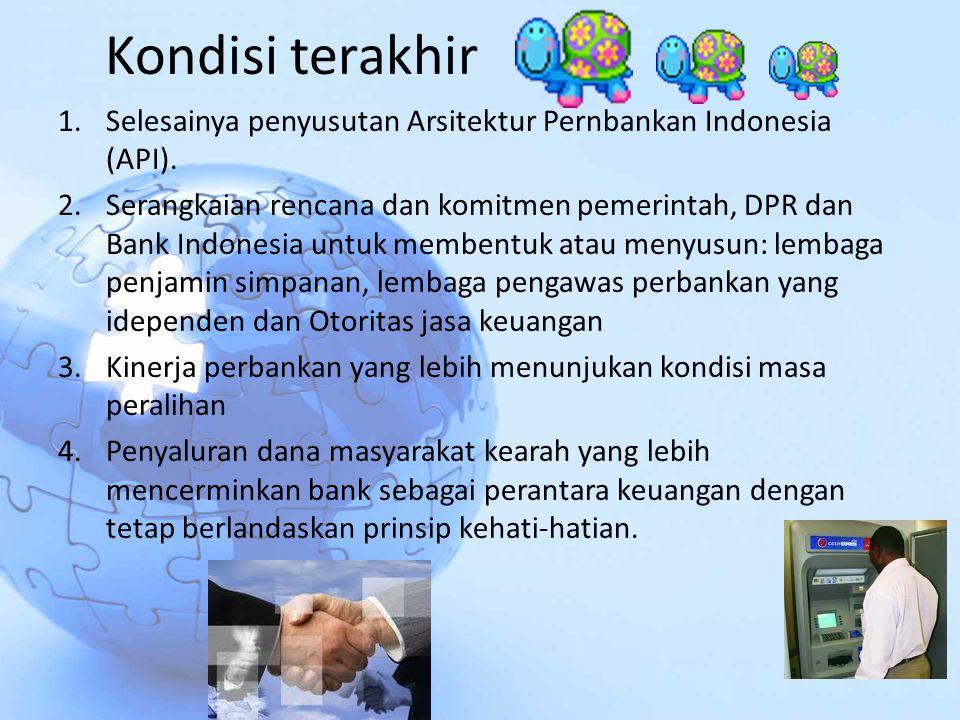 Kondisi terakhir 1.Selesainya penyusutan Arsitektur Pernbankan Indonesia (API). 2.Serangkaian rencana dan komitmen pemerintah, DPR dan Bank Indonesia