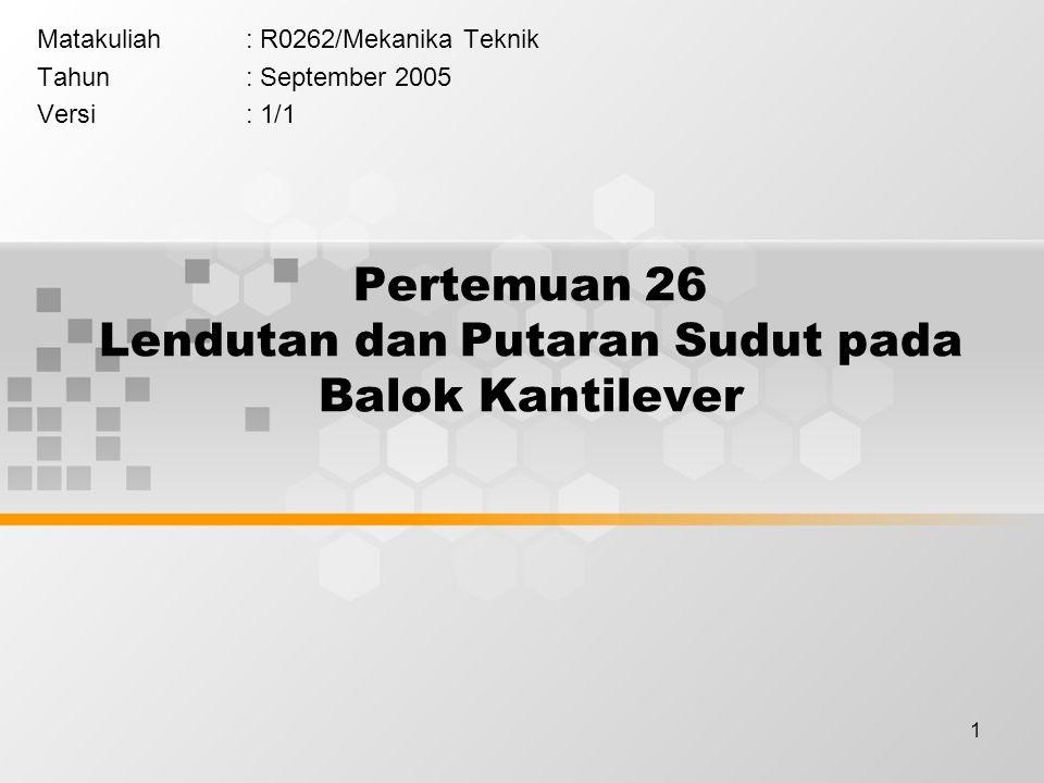 1 Pertemuan 26 Lendutan dan Putaran Sudut pada Balok Kantilever Matakuliah: R0262/Mekanika Teknik Tahun: September 2005 Versi: 1/1