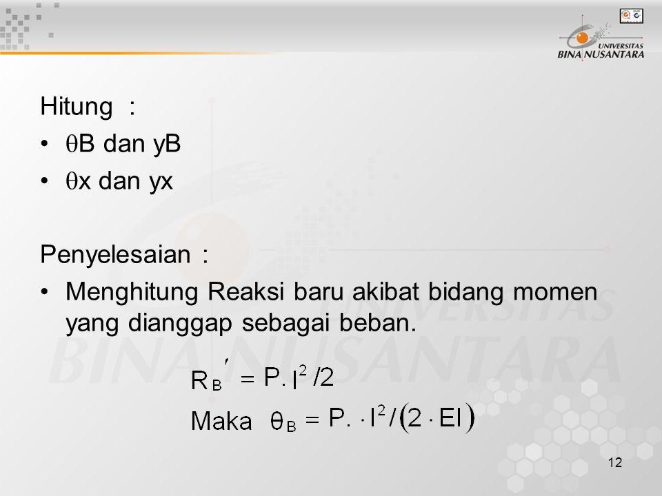 12 Hitung :  B dan yB  x dan yx Penyelesaian : Menghitung Reaksi baru akibat bidang momen yang dianggap sebagai beban.