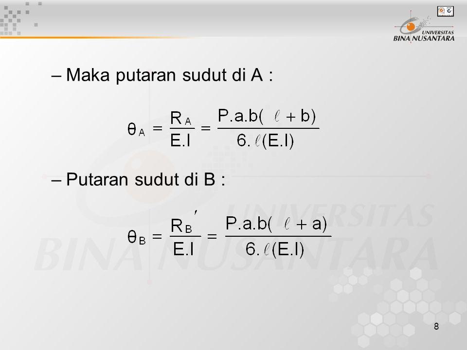 8 –Maka putaran sudut di A : –Putaran sudut di B :