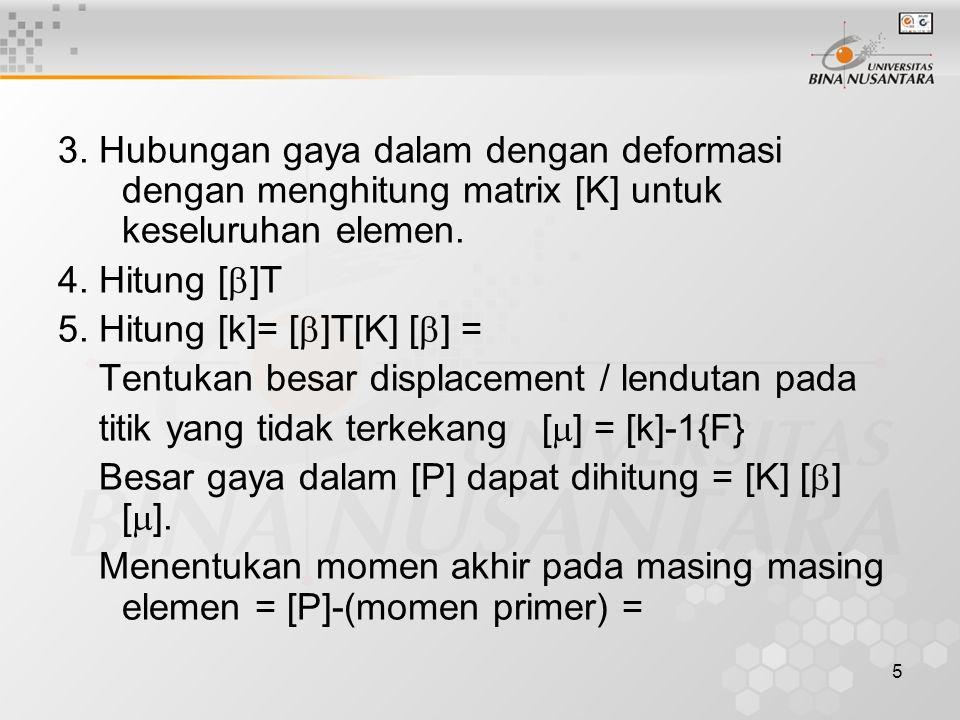 5 3. Hubungan gaya dalam dengan deformasi dengan menghitung matrix [K] untuk keseluruhan elemen. 4. Hitung [  ]T 5. Hitung [k]= [  ]T[K] [  ] = Ten