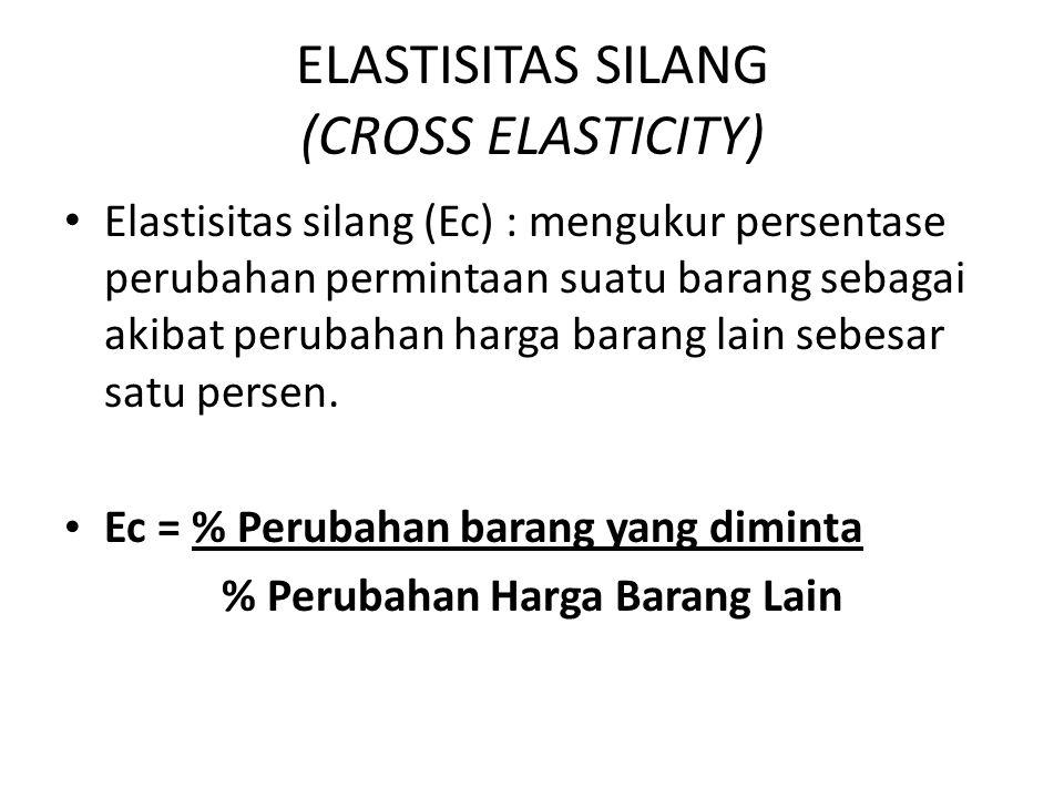 ELASTISITAS SILANG (CROSS ELASTICITY) Elastisitas silang (Ec) : mengukur persentase perubahan permintaan suatu barang sebagai akibat perubahan harga b