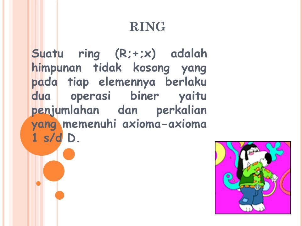 RING Suatu ring (R;+;x) adalah himpunan tidak kosong yang pada tiap elemennya berlaku dua operasi biner yaitu penjumlahan dan perkalian yang memenuhi