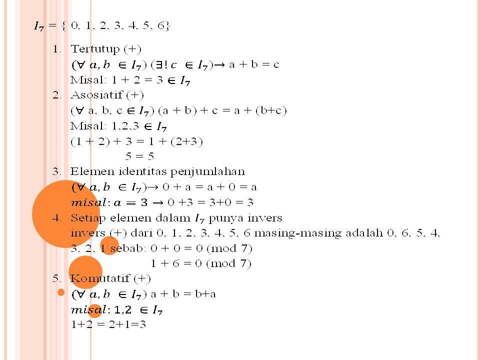 Jadi himpunan bilangan bulat modulo 7 merupakan ring