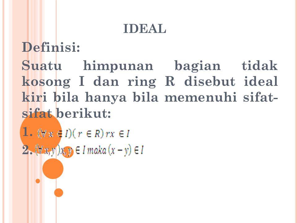 Definisi: Suatu himpunan bagian tidak kosong I dari ring R disebut ideal kanan bila hanya bila memenuhi sifat berikut: 1.