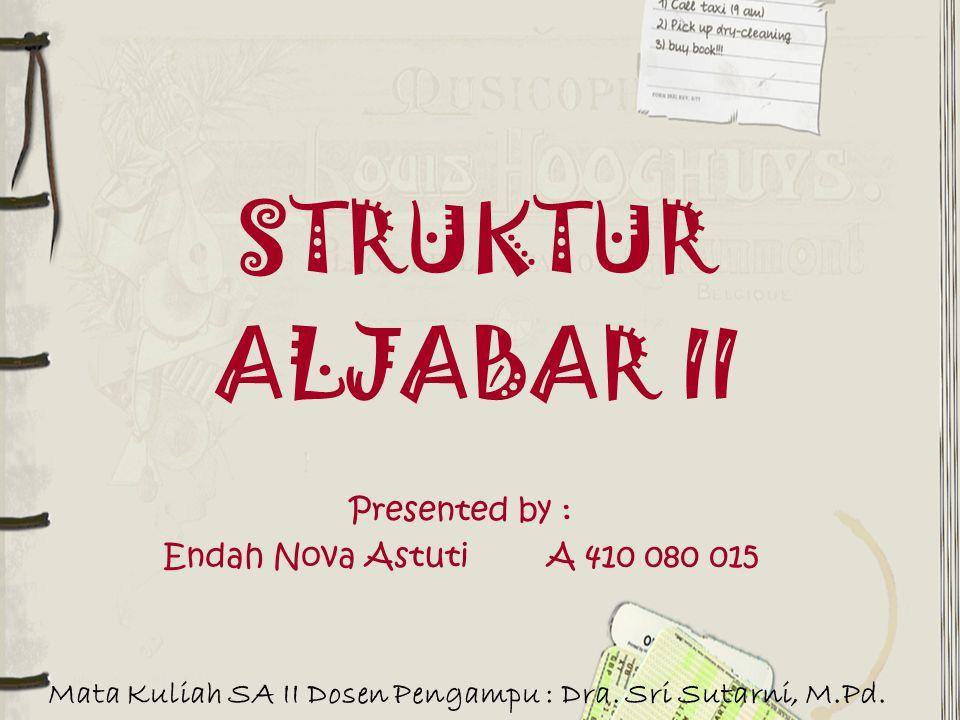 STRUKTUR ALJABAR II Presented by : Endah Nova AstutiA 410 080 015 Mata Kuliah SA II Dosen Pengampu : Dra. Sri Sutarni, M.Pd.