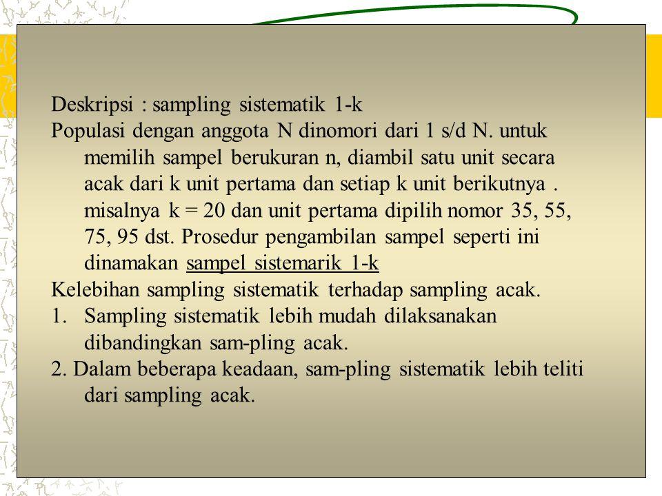 2 Deskripsi : sampling sistematik 1-k Populasi dengan anggota N dinomori dari 1 s/d N. untuk memilih sampel berukuran n, diambil satu unit secara acak