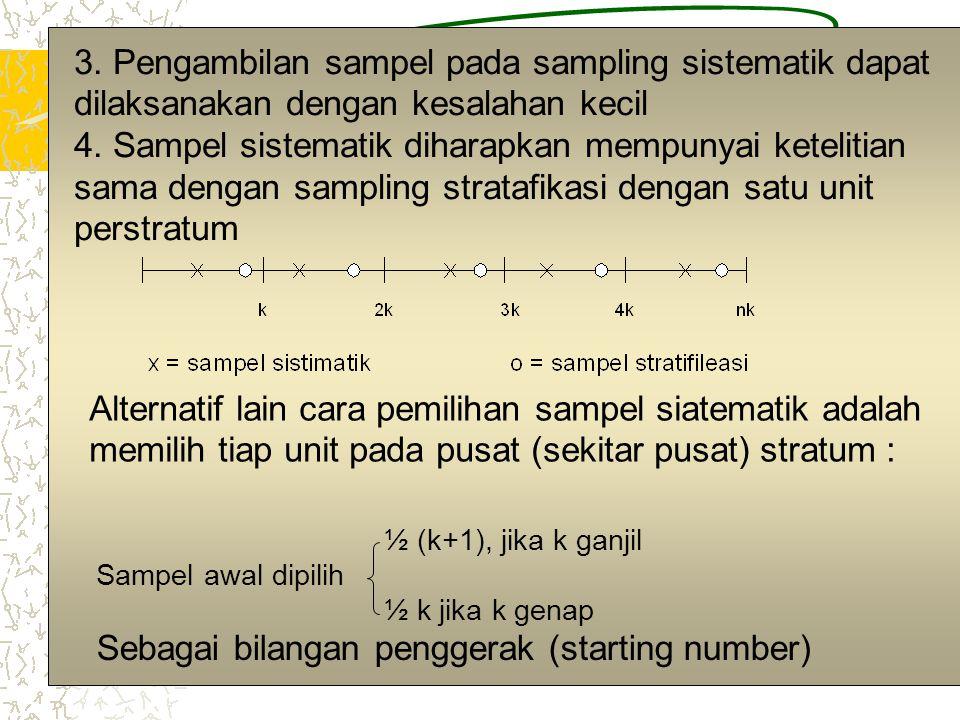 3 3. Pengambilan sampel pada sampling sistematik dapat dilaksanakan dengan kesalahan kecil 4. Sampel sistematik diharapkan mempunyai ketelitian sama d