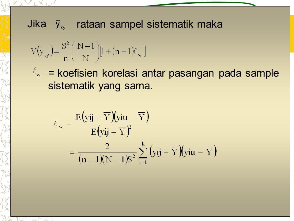 7 Jika rataan sampel sistematik maka = koefisien korelasi antar pasangan pada sample sistematik yang sama.
