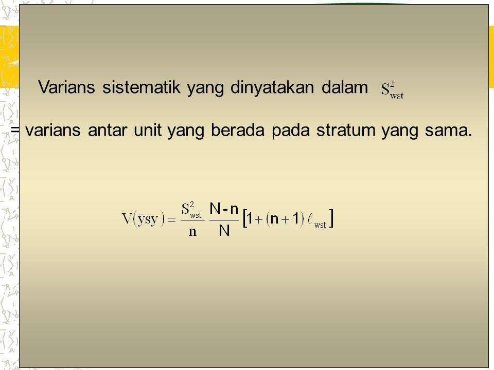 8 Varians sistematik yang dinyatakan dalam = varians antar unit yang berada pada stratum yang sama.