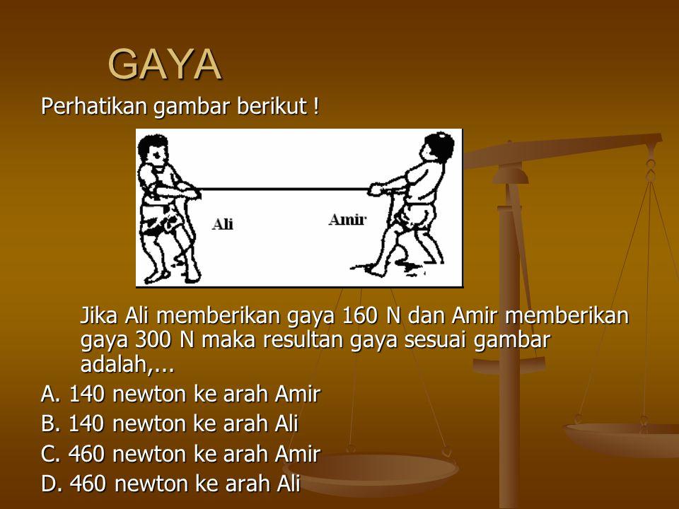 GAYA Perhatikan gambar berikut ! Jika Ali memberikan gaya 160 N dan Amir memberikan gaya 300 N maka resultan gaya sesuai gambar adalah,... A. 140 newt