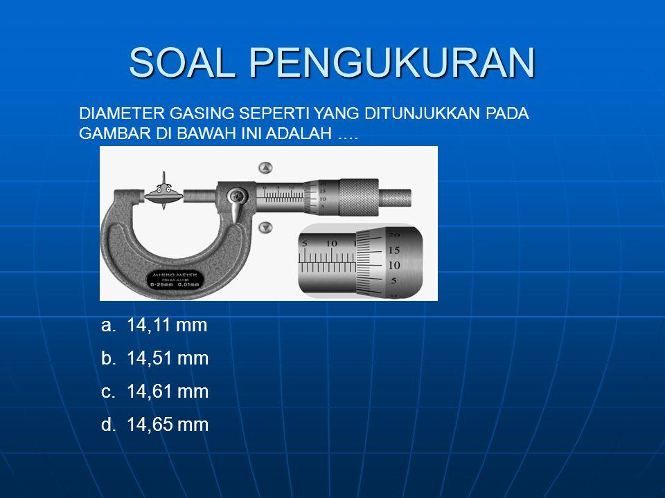 SOAL PENGUKURAN DIAMETER GASING SEPERTI YANG DITUNJUKKAN PADA GAMBAR DI BAWAH INI ADALAH …. a.14,11 mm b.14,51 mm c.14,61 mm d.14,65 mm