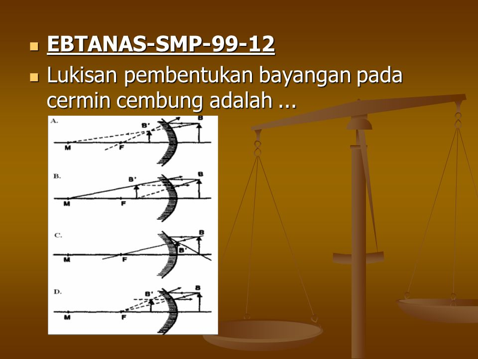 EBTANAS-SMP-99-12 EBTANAS-SMP-99-12 Lukisan pembentukan bayangan pada cermin cembung adalah... Lukisan pembentukan bayangan pada cermin cembung adalah