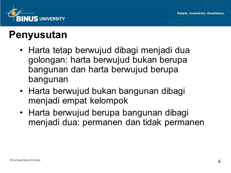 Bina Nusantara University 3 Agenda Penyusutan Metode dan Tarif Penyusutan Saat Dimulainya Penyusutan Contoh Penghitungan Penyusutan