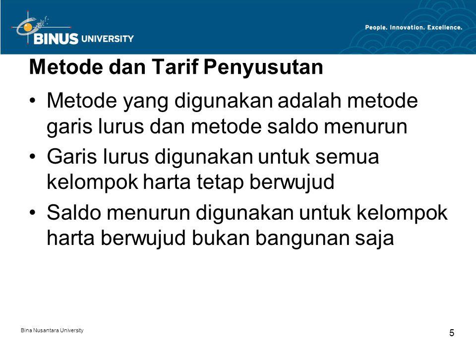 Bina Nusantara University 4 Penyusutan Harta tetap berwujud dibagi menjadi dua golongan: harta berwujud bukan berupa bangunan dan harta berwujud berup