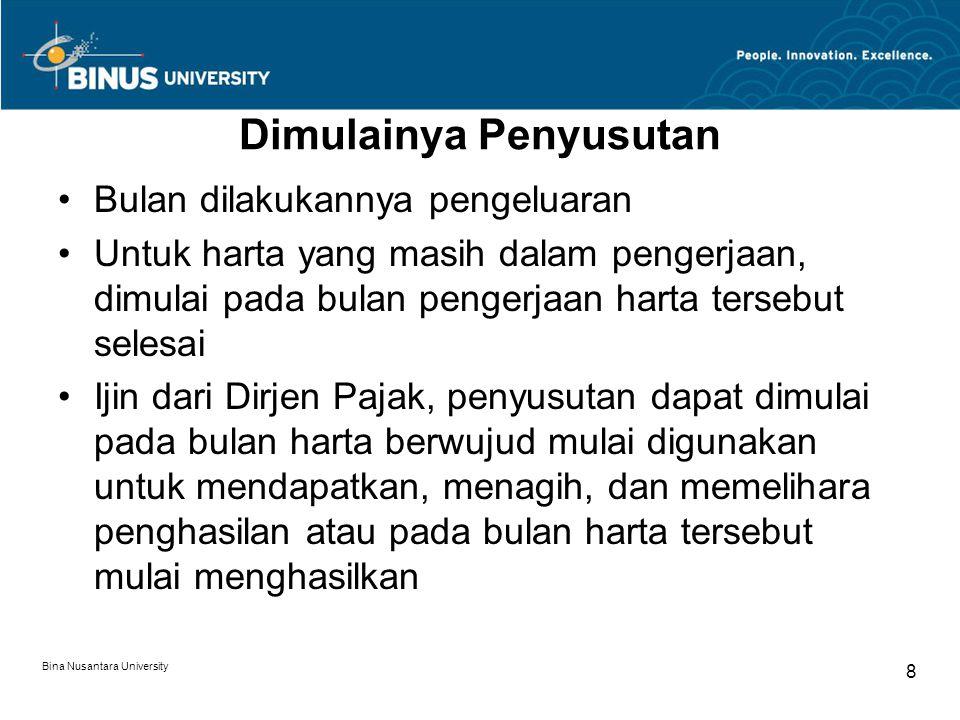 Bina Nusantara University 7 Metode dan Tarif Penyusutan (lanjutan) Kelompok Harta Berwujud Masa Manfaat Tarif Depresiasi Garis Lurus Saldo Menurun II Bangunan Permanen Tidak Permanen 20 tahun 10 tahun 5% 10% ----