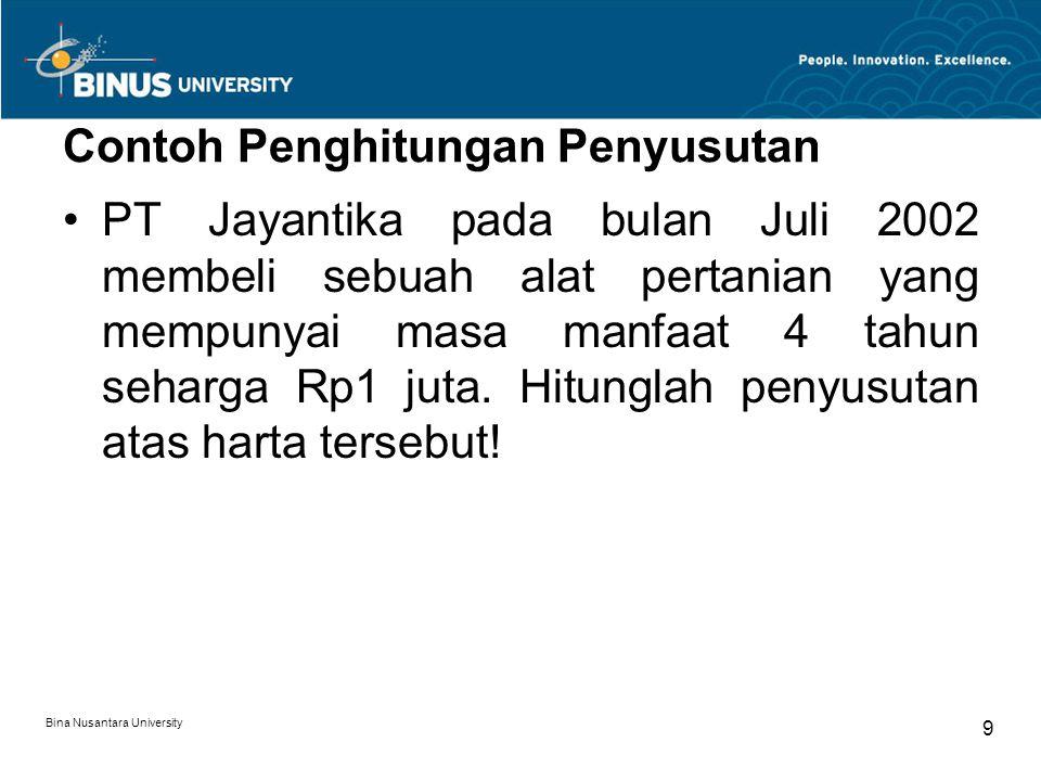 Bina Nusantara University 8 Dimulainya Penyusutan Bulan dilakukannya pengeluaran Untuk harta yang masih dalam pengerjaan, dimulai pada bulan pengerjaa