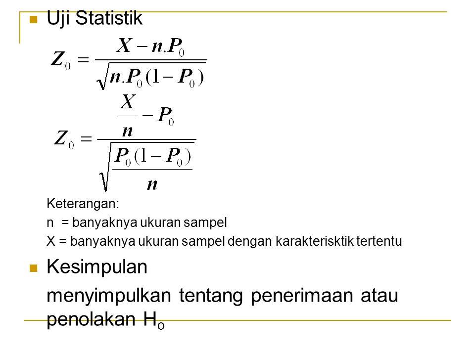 Uji Statistik Keterangan: n = banyaknya ukuran sampel X = banyaknya ukuran sampel dengan karakterisktik tertentu Kesimpulan menyimpulkan tentang pener