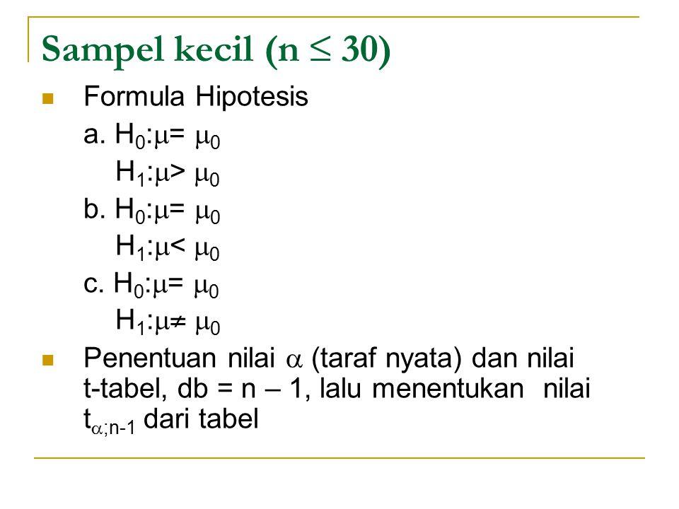 Sampel kecil (n ≤ 30) Formula Hipotesis a. H 0 :  =  0 H 1 :  >  0 b. H 0 :  =  0 H 1 :  <  0 c. H 0 :  =  0 H 1 :  ≠  0 Penentuan nilai 
