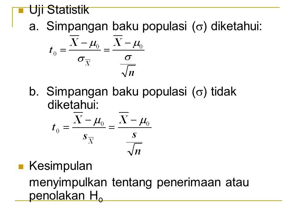 Uji Statistik a. Simpangan baku populasi (  ) diketahui: b. Simpangan baku populasi (  ) tidak diketahui: Kesimpulan menyimpulkan tentang penerimaan